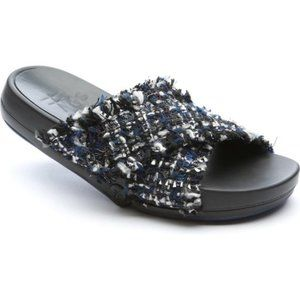 Figs by Figueroa Comfy Blue Tweed Slip-On Sandals
